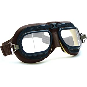 Green Leather HDM Halcyon MK49 Leather Motorcycle Goggles for Open Face Helmets