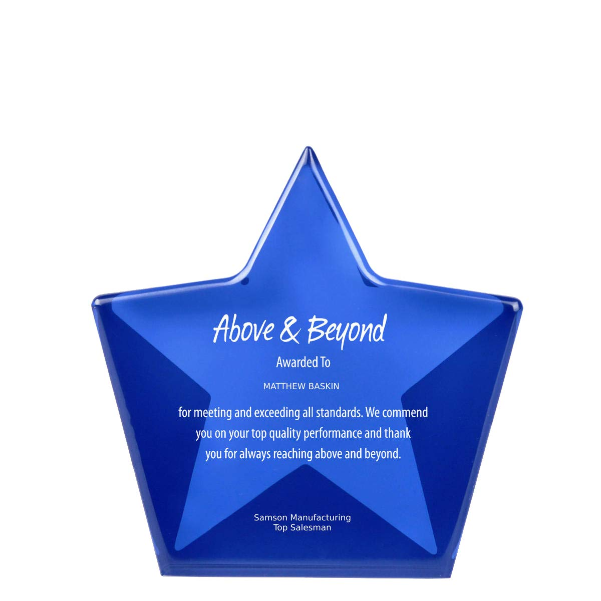Engraved Trophy - Blue Acrylic- Star Shape Award for Employees - Personalized Engraving Up to Three Lines and Pre-Written Verse Selection - Comes in Gift Box by Baudville