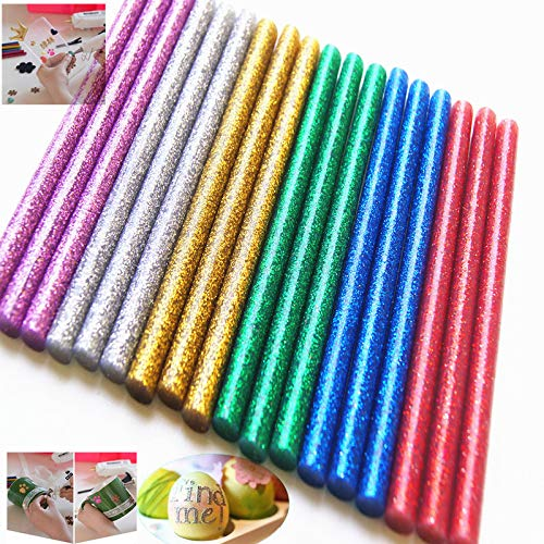 WeiMo 120+10 pcs Colorful Hot Melt Glue Stick, Small Glue Gun Used Long Shape Hot Melt Glue Stick for Art Craft DIY Home Decoration Sealing and Gluing (130) ()