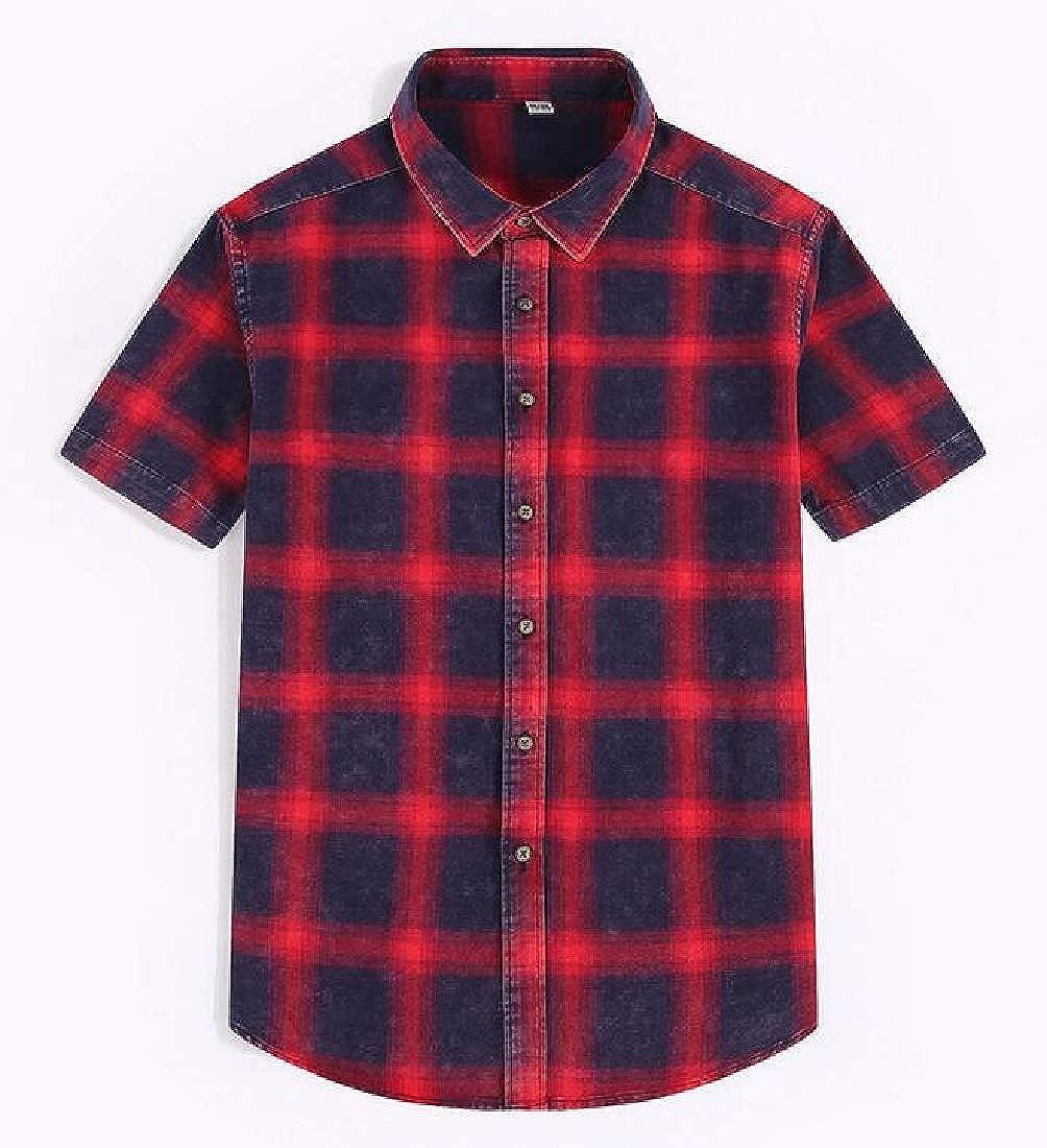 Pandapang Mens Summer Short Sleeve Lapel Button Front Plaid Casual Shirts