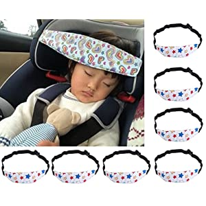 Child Head Support, niceEshop(TM)Toddler Car Seat Head Support and Neck Relief Baby Sleep Positioner, Light Gray Stars