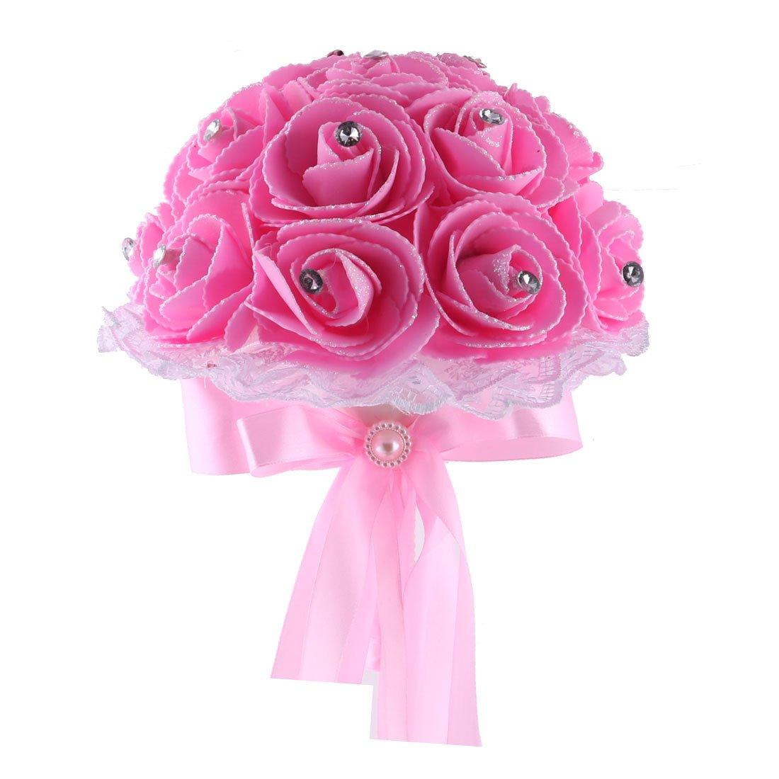 uxcell Foam Rose Buds Wedding Banquet Bridal Handhold Artificial Bouquet Craft Ornament Pink a17041800ux0227