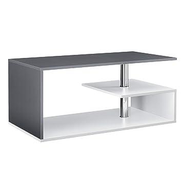 Table De Salon Avec Rangement.En Casa Table Basse Table De Salon Avec Etagere Rangement En Mdf 90 X 50 X 41 Cm Blanc Et Gris Fonce