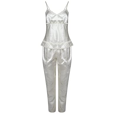 9eb4a400a0 janisramone Womens Ladies New 3 Piece Satin Silk Pyjama Sleepwear Vest Lace  Shorts Nightwear Nighty PJ s