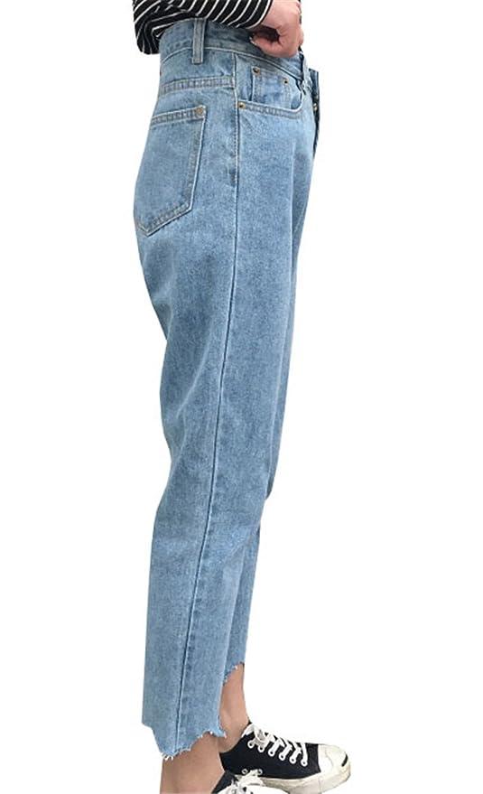 COCO clothing Frühjahr Herbst Mom Jeans Damen Hose 7 8 Ripped Marlene Freizeithosen  Frauen Hoher Taille Locker Röhren Pants Luftige Haremshosen (L, ... cda38793bf