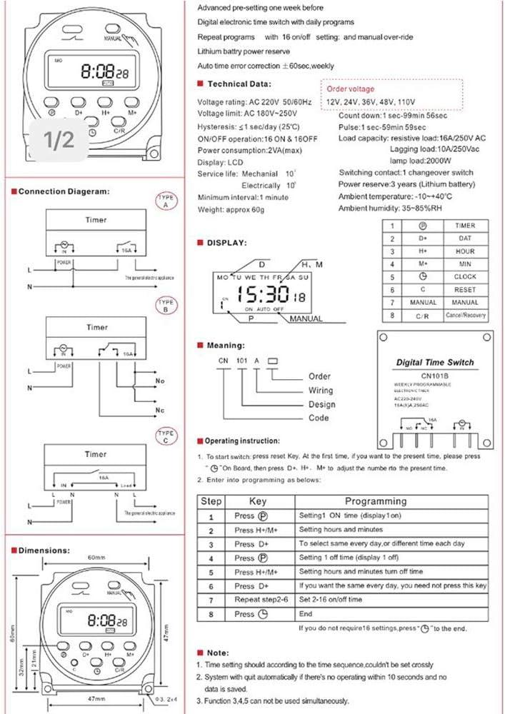 BKAUK C 220V CL Puissance Num/éRique Minuterie Programmable Interrupteur Horaire