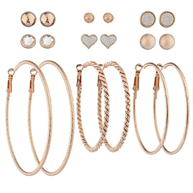 Lux Accessories Rose Gold Crystal Silver Glitter Stud Textured Hoop Set 9pc 0wr6y7pF8