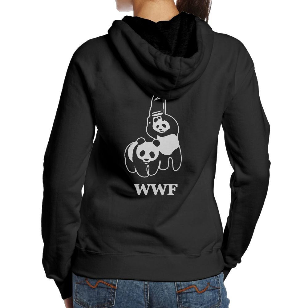 KWISISI WWF Panda Bear Wrestling Women's Hooded Pullover Clothes (Back Print)