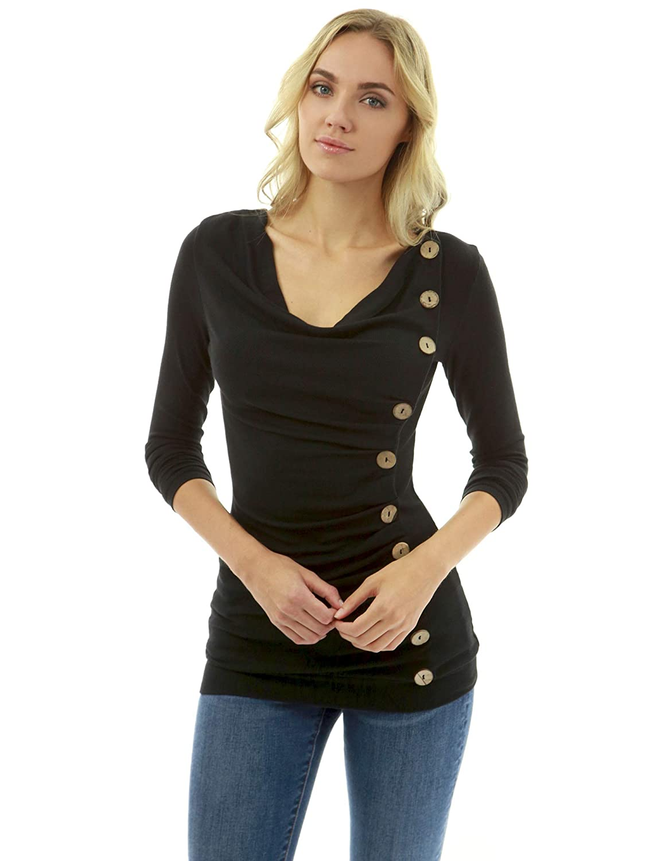 43640b88c1167f PattyBoutik Women Cowl Neck Button Embellished Blouse at Amazon Women's  Clothing store:
