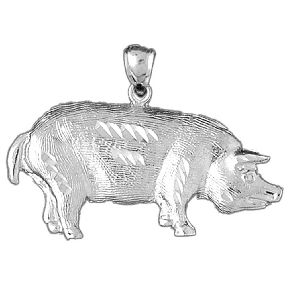 Jewels Obsession Pig Necklace Rhodium-plated 925 Silver Pig Pendant with 16 Necklace