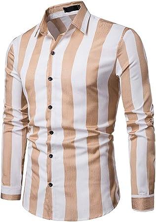 AFCITY-Shirt Camisas para Hombre Camisa clásica de Color Liso para Hombre, con Cuello de Solapa y Rayas, Color sólido (S-XXL) para el Trabajo Diario de Business Party Elegante Camisa de Vestir: Amazon.es: