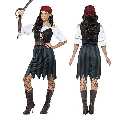 Vestito da piratessa Costume da pirata donna XL 52 54 - Travestimento  femminile corsara Mascheramento 147c5be3dbb