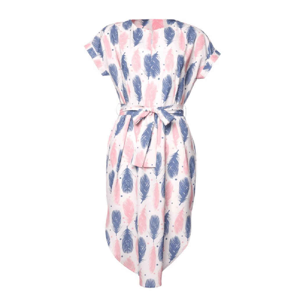 Women V Neck Feather Printed Casual Short Sleeve Maxi Shirt Mini Dress With Strap Belt Summer Beach Work (M, White)