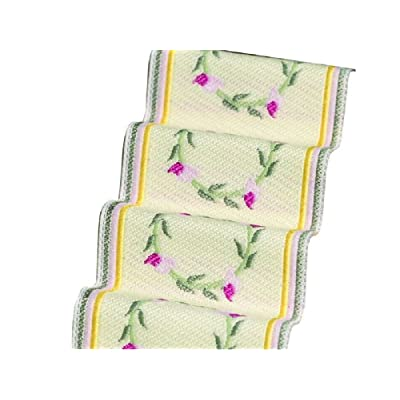 Melody Jane Dollhouse Woven Stair Carpet Runner Pink Floral Wreath Miniature: Toys & Games