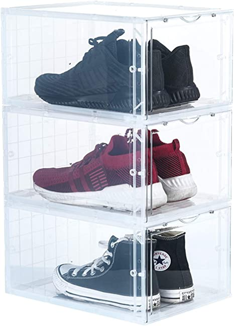Secret Space Acrylic Shoe Box, 3 Pack Clear Magnetic Shoe Container Bins Storage Stackable for Jordan Nike Sneaker, Large Size, Transparent
