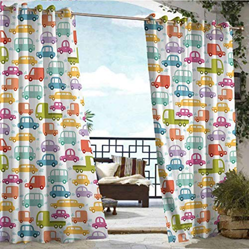 Qenuan Outdoor Curtain Panel for Patio,Cars,Lovely Drive on a Sunny Fun Summer Day Theme with Colorful Buses Trucks Exhaust Fumes,Multicolor,Outdoor Curtain for Patio Furniture72 x72 inch