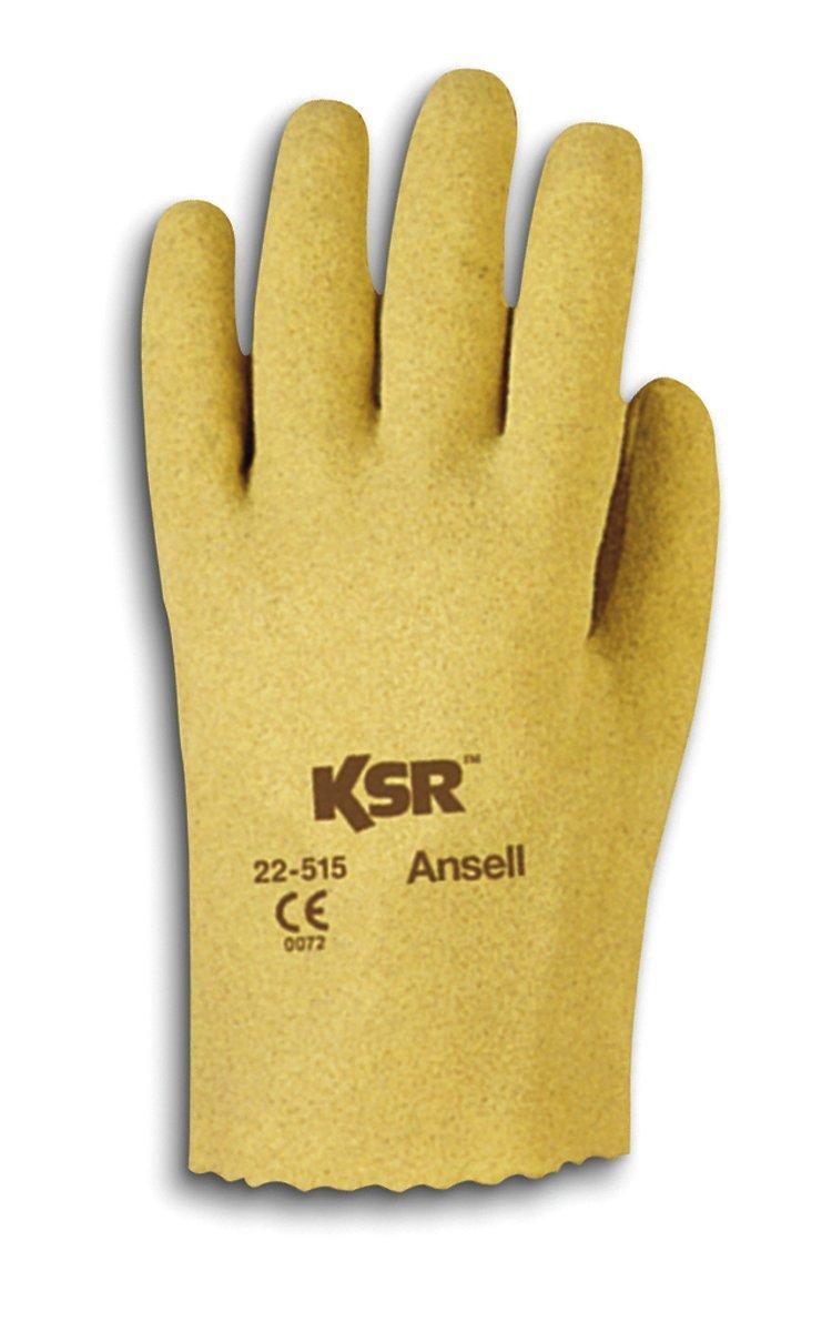 Ansell Ksr 22-515 Guanto Oleorepellente Sacchetto di 12 Paia Taglia 7 Protezione Meccanica Giallo