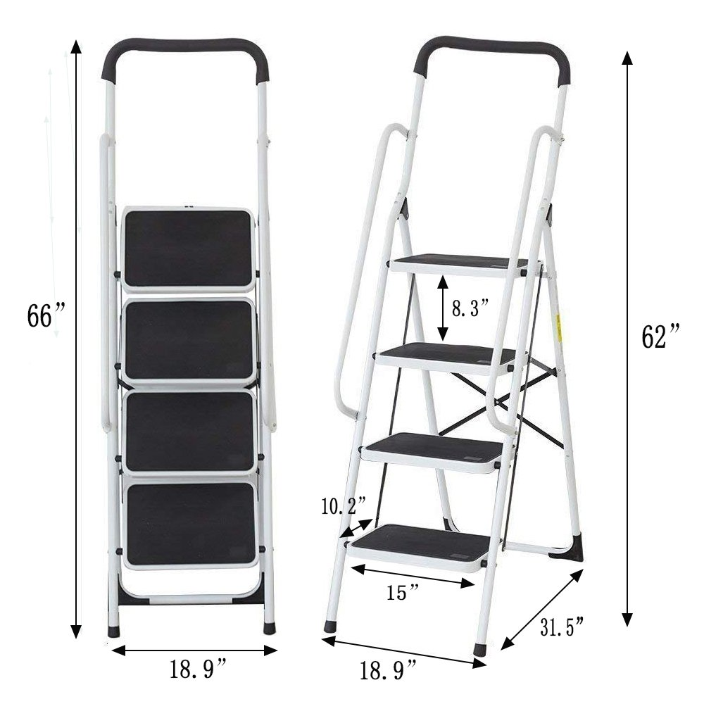 KARMAS PRODUCT Folding 4 Step Ladder with Handrails for Home,Anti-Slip Safty Steel Step Stool 300LB by KARMAS PRODUCT (Image #4)