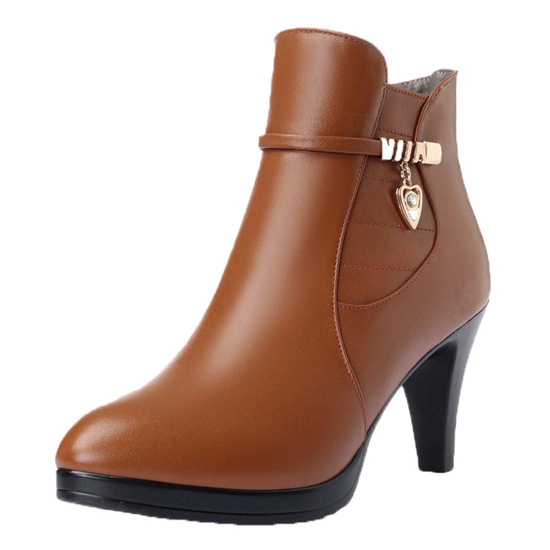 Honeystore Damen Stiefeletten High Heels Spitze Stiletto Ankle Stiefel mit Reißverschluss Schnalle 7cm Absatz Elegante Schuhe