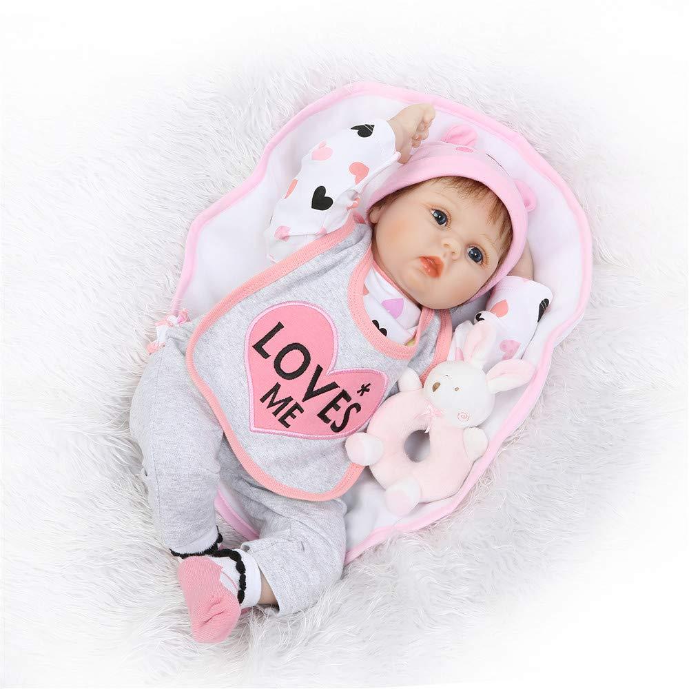HOOMAI Vorzüglich Reborn Babys 55cm Lebensecht von Silikon 22 Zoll Puppen Mädchen WiederGeboren Babypuppen Grau Outfit Toddler Kinder Geburtstag Geschenk