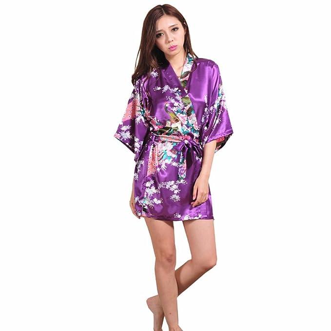 Blala Purple Female Printed Floral Kimono Dress Gown Silk Satin Robe at Amazon Womens Clothing store: