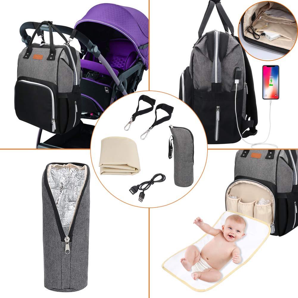 Oxford Babyrucksack mit USB-Lade Port Schwarz+Grau Baby Wickelrucksack Wickeltasche mit Wickelunterlage Multifunktional Gro/ße Kapazit/ät Babytasche Reisetasche f/ür Unterwegs