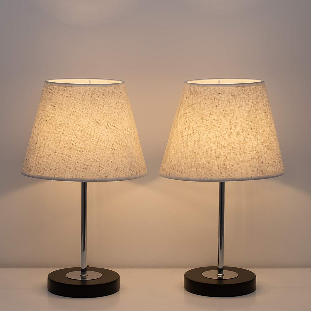 Mua Haitral Modern Table Lamps Bedside Desk Lamps Small Nigtstand Lamps Set Of 2 For Bedroom Office Living Room With Metal Base And Fabric Shade Black Linen Tren Amazon Má»¹ Chinh