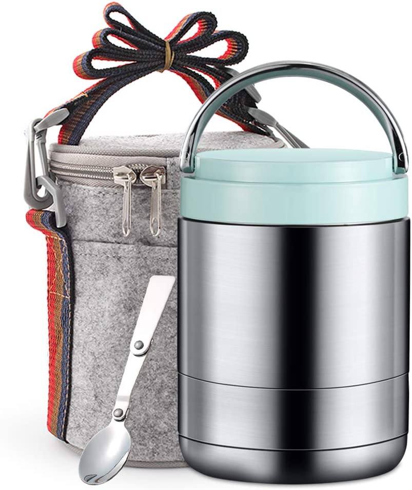 TileMiun Vacuum Thermal Bento Lunch Box Stainless Steel Lunch Jar for Hot Food Leak Proof Thermal Food Soup Thermos with Spoon & Insulated Lunch Bag (Blue)
