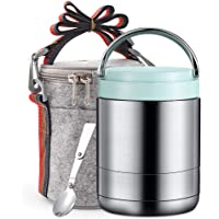 Arderlive Vacuum Insulated Lunch Box,34Oz 18/8 Stainless Steel Thermal Food Jar with Insulated Lunch Bag & Spoon,Stay Hot for 6 Hrs.(light blue,34oz)