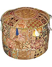 Indiase traditioneel huis decoratieve Ottomaanse handgemaakte en patchwork voetkruk vloerkussen, Indiaas geborduurd patchwork Ottomaanse hoes, ontwerpen etnische patchwork poef, 14x22 inch. Door Bhagyoday