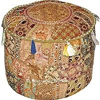 Indiase traditioneel huis decoratieve Ottomaanse handgemaakte en patchwork voetkruk vloerkussen, Indiaas geborduurd…