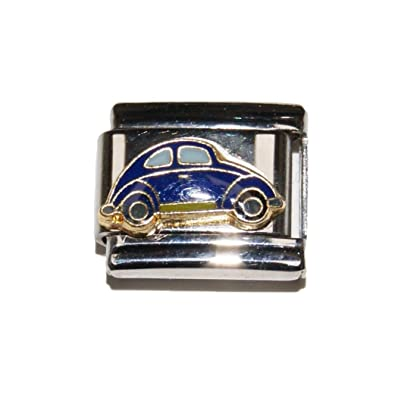 Blue VW Beetle car Bug enamel charm - fits 9mm Zoppini f848b6fa203c