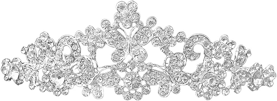 Couronne de Mariee Diademe de Voile Nuptial avec des Fleurs en Strass WT