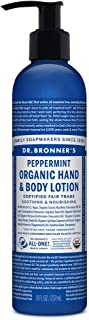 product image for Dr. Bronner's - Organic Lotion (8 Ounce) - Body Lotion and Moisturizer, Certified Organic, Soothing for Hands, Face and Body, Highly Emollient, Nourishes and Hydrates, Vegan (Peppermint)