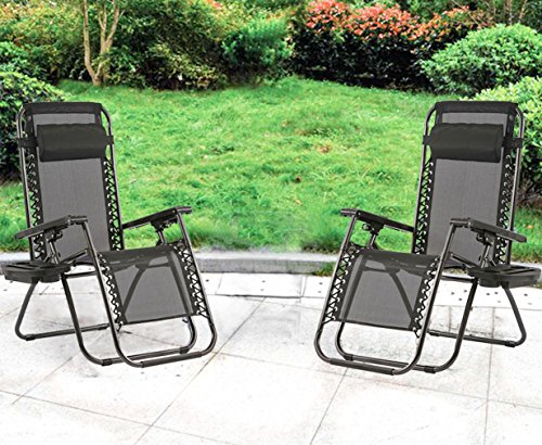 Zero Gravity Chairs Case Of 2 Black Lounge Patio Chairs