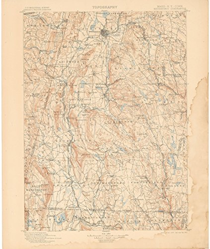 Historic Pictoric Map   Berkshire County 1905 Topographic   Vintage Poster Art Reproduction   24in x 30in