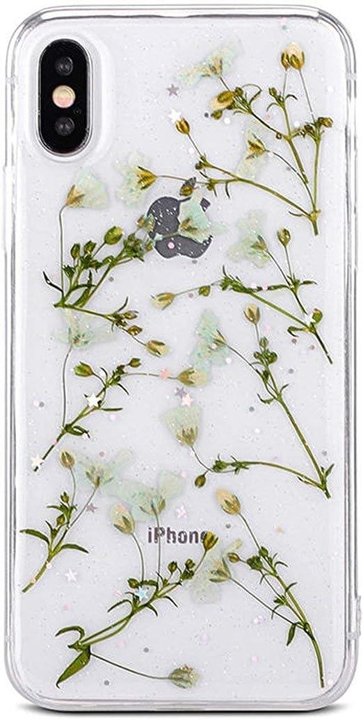 Véritables fleurs séchées TPU Coque souple pour iPhone X XS XR XS ...