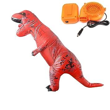OMAS Disfraz de Dinosaurio Inflable Mundo Jurasico, para Adultos Unisex(Marrón)