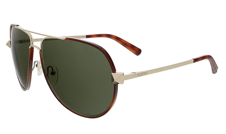 e9da3dabc99d Valentino Studded Aviator Sunglasses in Blonde Havana V116S 725 60  Amazon.co.uk   Clothing