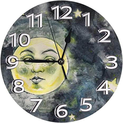 Amazon Com Nobrand Wall Clock Crazy Funny Moon Silly Eyes Weird Cute Silent Non Ticking 10 Inch Round Art Decor Clock For Office Kitchen Bedroom Living Room Home Kitchen