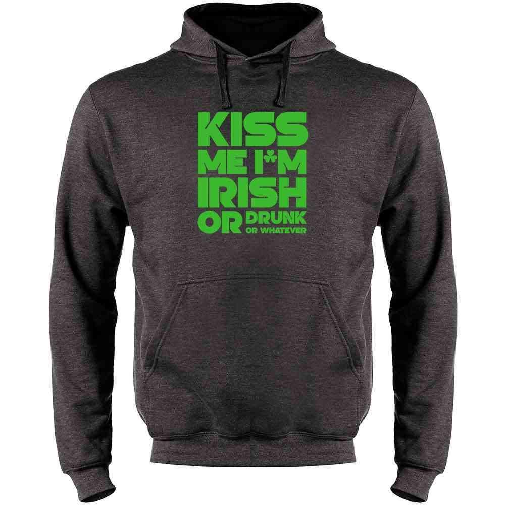 Paddys Mens Fleece Hoodie Sweatshirt Kiss Me Im Irish or Drunk or Whatever St