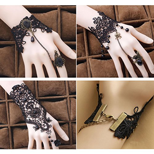 Red Ape Lace Fingerless Gloves Bracelet for Women,for Wedding Party Masquerade,pack of 3 (Studded Wristband Single)