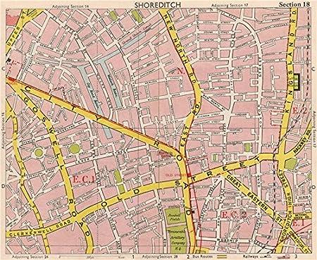 Old Street London Map.London Ec1 Ec2 N1 Shoreditch Hoxton Old Street Clerkenwell Bacon