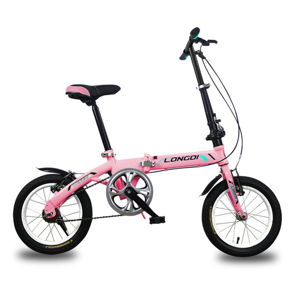 XQ 折り畳み自転車無可変速度非常に軽い男性と女性大人の子供の折りたたみ車14分の16インチの自転車 子ども用自転車 ( 色 : ピンク ぴんく , サイズ さいず : 14-inch ) B07CJWQ843 14-inch|ピンク ぴんく ピンク ぴんく 14-inch