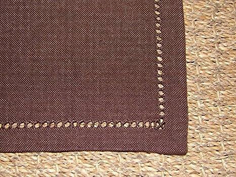 boite-a-cadeaux - - Juego de 6 toallas infroissables marrón Uni borde vainica 40 x 40 cm Simla: Amazon.es: Hogar