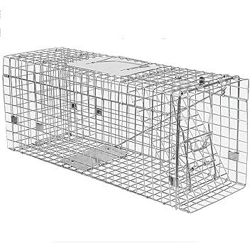 JB-BSQ Gran Trampa De Actividad Humana Plegable, Trampa para Animales, Jaula para Gatos Totalmente Automática, Plata - 90x33x30cm: Amazon.es: Hogar