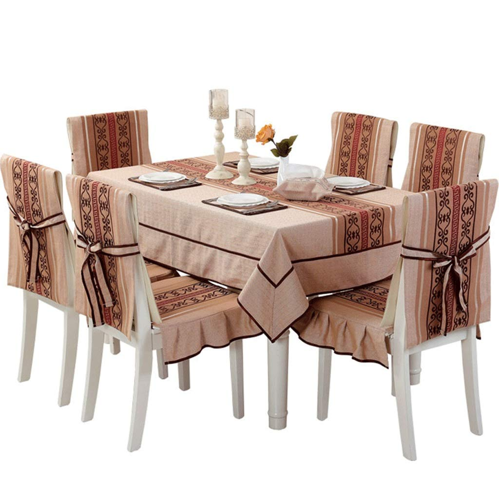 RFQL テーブルクロス、テーブルカバー テーブルクロスの家庭用綿、麻、長方形のテーブルクロス、ダイニングチェアカバー付き4/6チェア用、2色 (色 : コーヒー, サイズ さいず : 4 seat cover+130*180cm) 4 seat cover+130*180cm コーヒー B07S6SY95B