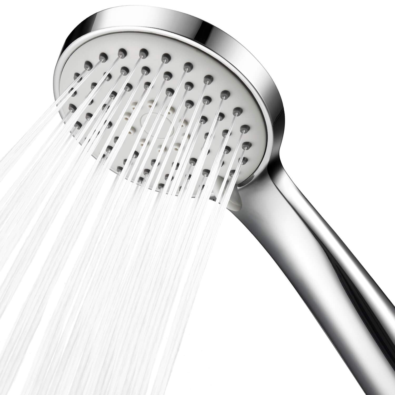 Samodra High Pressure Handheld Shower Head Powerful Spray Showerhead with Hose for Low Flow Showers, Multi-functions, Removable Water Restrictor, Adjustable Wall Mount Bracket, 4 Inch, Chrome