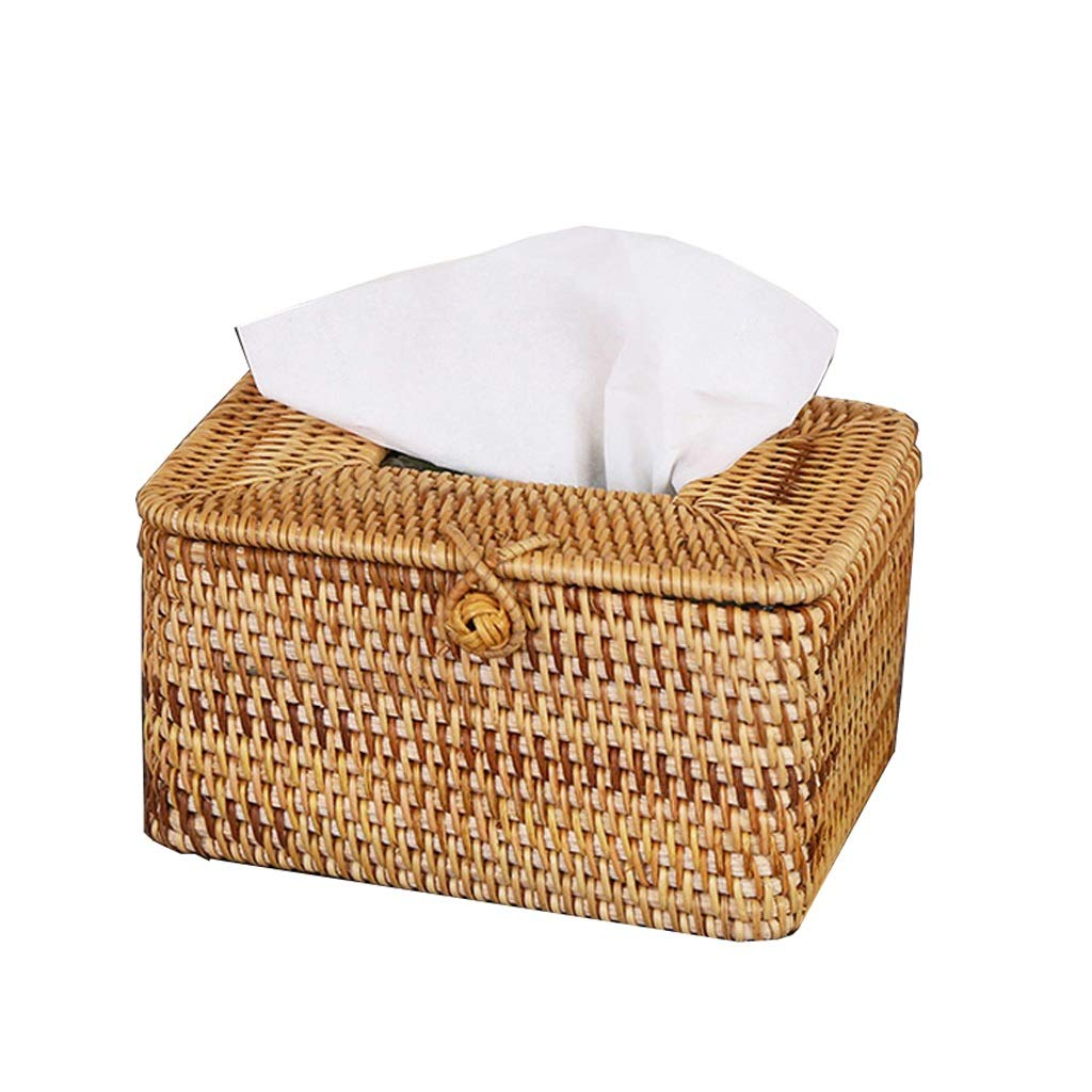 UCYG Creative Handmade Straw Rattan Tissue Box Simple Rustic Style Car Living Room Table Decoration (Color :Brown),16129cm by UCYG