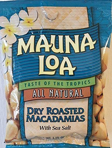 Mauna Loa Dry Roasted Macadamia Nuts with Sea Salt Snack Size 1.15oz (Pack of - Mauna Roasted Honey Loa